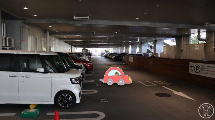 オーテピアの平面駐車場