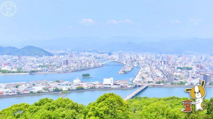 五台山展望台から見た高知市のパノラマ