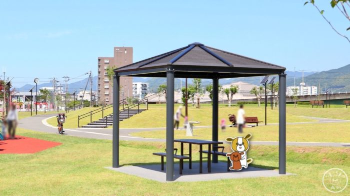 弥右衛門公園の休憩スペース